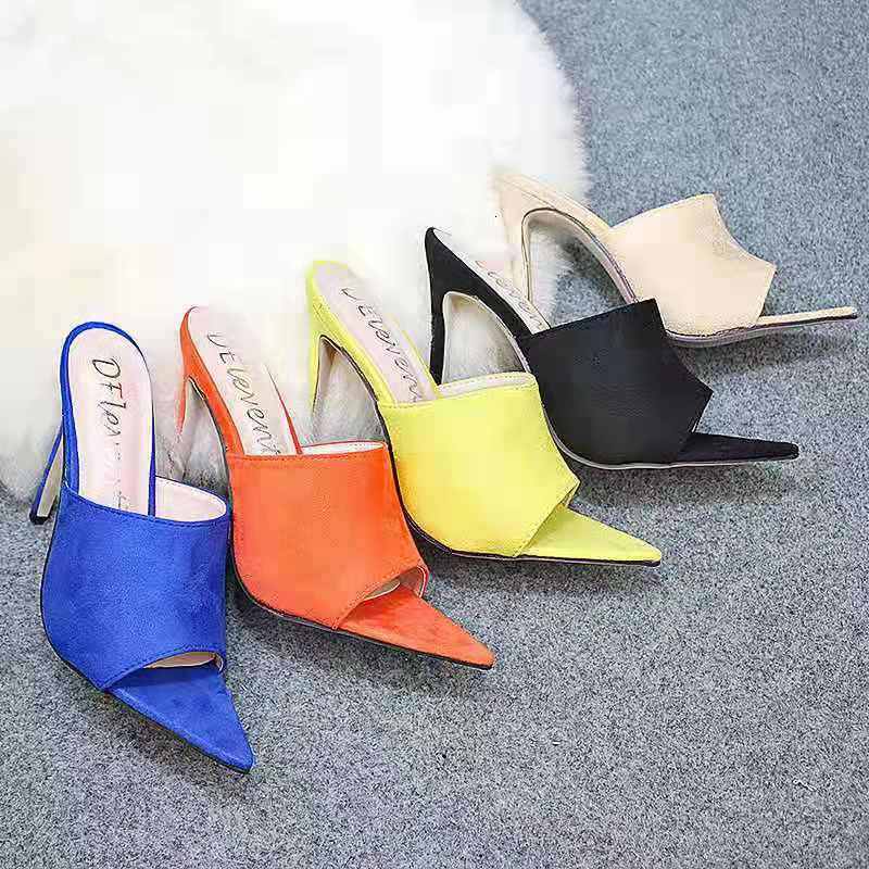 Point Toe High Heel Slides Women Slipper Shoes Candy Color Fashion Women's Slippers Shoes Feminina Mujer 2019 Female Heels 12cm
