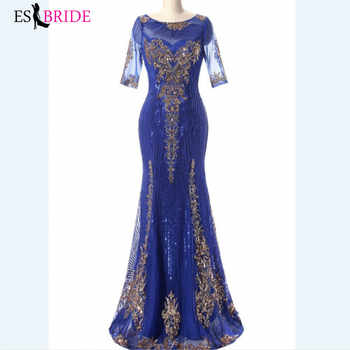 Royal Blue Evening Gown Gold Shiny Bead Piece Evening Dress Formal Mermaid Long Robe De Soiree Special Occasion Dresses ES2607 - DISCOUNT ITEM  40% OFF All Category