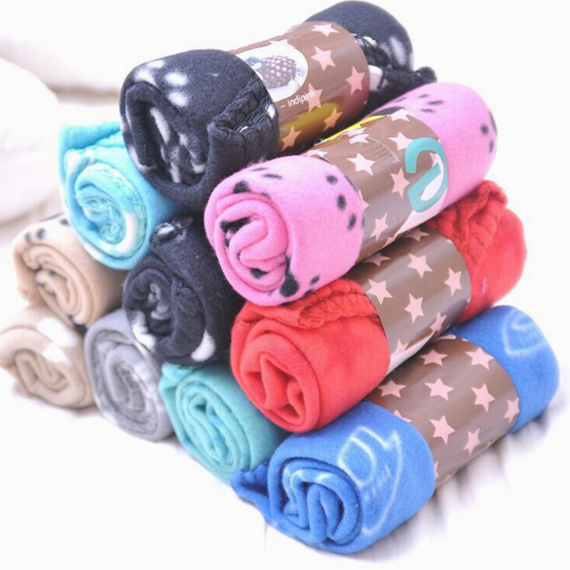 Lovely Pet Dogs Cats Bed Mat Blanket Soft Winter Warm Fleece Paw Print Design Pet Puppy Bed Sofa Pet Product Cushion Cover Towel