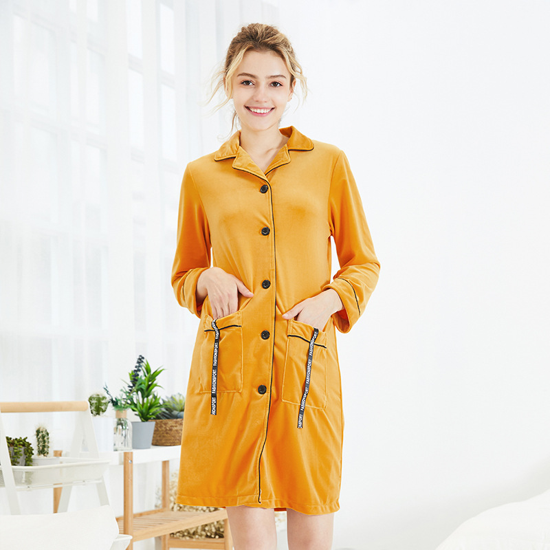 Yao Ting Velvet Long One-piece Pajama Women's Autumn And Winter Mid-length Nightgown Long Sleeve Tracksuit Sr982