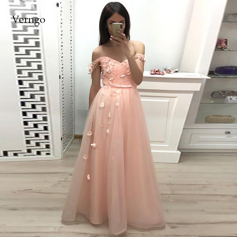 Verngo Evening Dresses Long Pink Tulle Formal Dress Flowers Prom Party Dress Gown Robe De Soiree Abendkleider