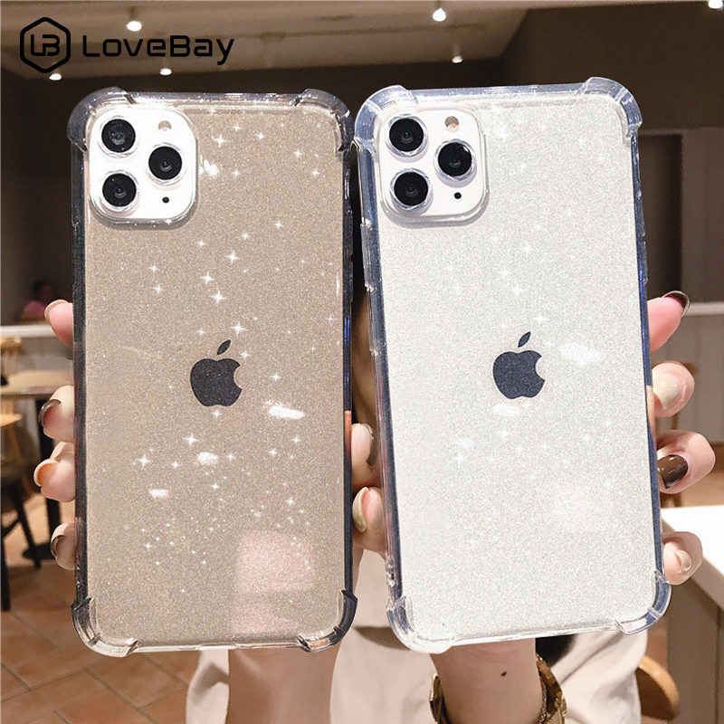 Lovebay Voor Iphone 11 Telefoon Geval Glitter Shockproof Voor Iphone 7 8 6 6 S Plus 11 Pro X Xr xs Max Transparant Soft Tpu Back Cover