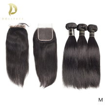 Braziliaanse Hair Extension Bundels 8 Om 30 40 Inch Menselijk Haar Bundels Met Sluiting Non Remy Natural Straight Korte lang Haar Weave