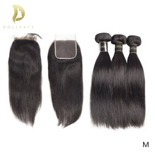 brazilian hair extension bundles 8 to 30 40 inch human hair bundles with closure non-remy natural straight short long hair weave(China)