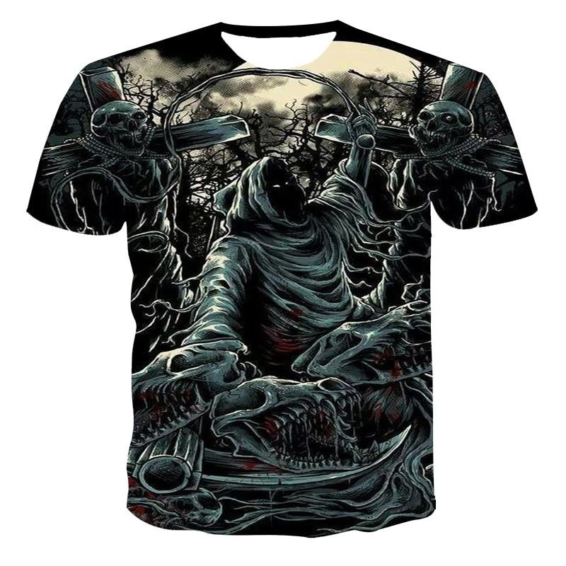 Mode summer tshirt men's 2021 3D skull print breathable men's shirt street wear stitching print men's shirt funny T-shirt xxs-6x
