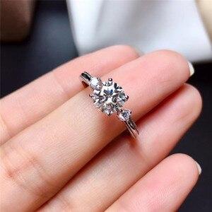 LeeChee Moissanite кольцо для женщин подарок на день рождения 1CT VVS1 6,5 мм лабораторный алмаз с сертификатом Настоящее серебро 925 пробы