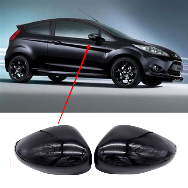1 Pair Black Left & Right Car Wing Door Rear View Rearview Mirror Covers Cap Trim Case For Ford Fiesta Mk7 2008 2017