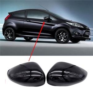 Image 1 - 1 Pair Black Left & Right 자동차 윙 도어 후면보기 Rearview Mirror Covers 포드 피에스타 Mk7 2008 2017 용 캡 트림 케이스