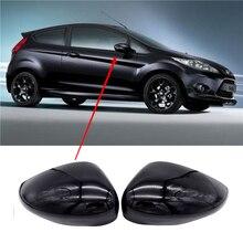 1 пара, черный, левый и правый, крыло автомобиля, дверь, зеркало заднего вида, чехлы, крышка, накладка, чехол для Ford Fiesta Mk7 2008 2017