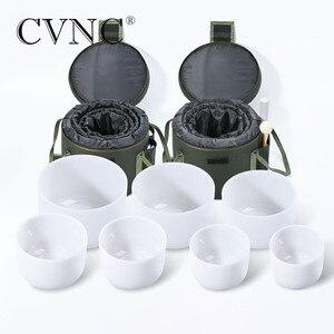"""Image 2 - CVNC 6 """" 12"""" 7pcs 서리로 덥은 석 영 크리스탈 노래 그릇 무료 2pcs 라이너 가방 세트"""