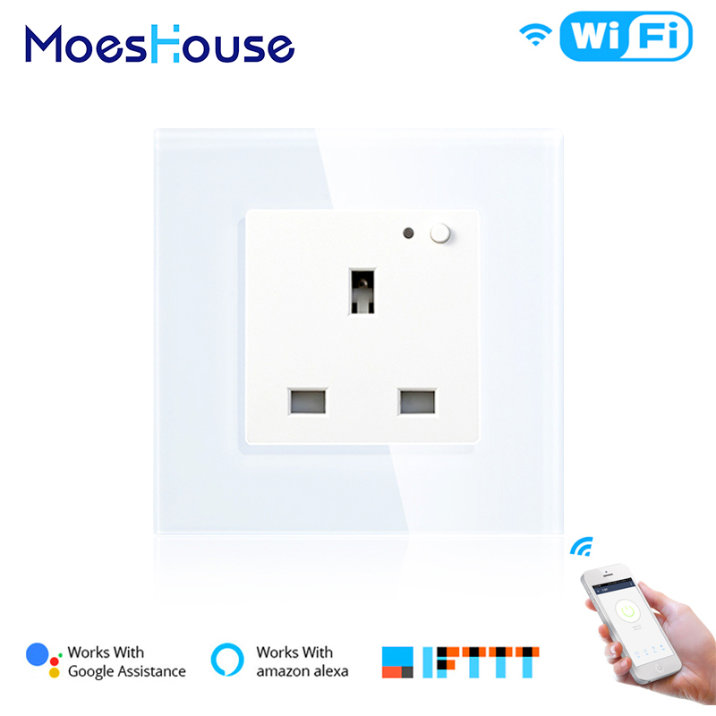UK WiFi Smart Wall Socket 13A Outlet Glass Panel,Smart Life/Tuya APP Remote Control,Works With Amazon Echo Alexa Google Home