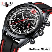 цена на 2019 LIGE Mens Watch Military Sport Watch Men Silicone Hollow Watch Top Brand Luxury Waterproof Quartz Clock Relogio Masculino