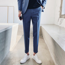 New Fashion Men Flanging Dress Pant Delicate High Quality Business Casual Slim fit Ankle Length Pantalon Classic Suit Trousers