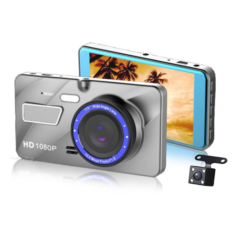 Car DVR Dash-Cam Dual-Lens Camera Driving-Recorder Wide-Angle Hidden 1080P 4inch HD Image