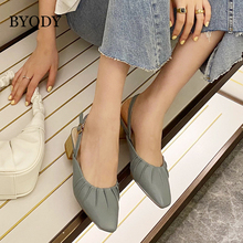 BYQDY Square Heels Woman Pumps Office Lady Career Shoes 2020 Solid Faux Suede Flock Pointed Toe Buckle Party Wedding Pump
