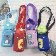 Kids Cute Water Bottle Children Kettle Cartoon Dinosaur Cover Drink Plastic Sport with Straw Portable Eco Friendly Baby Milk Cup baby feeding water bottle portable no spill cup my plastic bottle children s small kettle with straw food grade slide cover copo