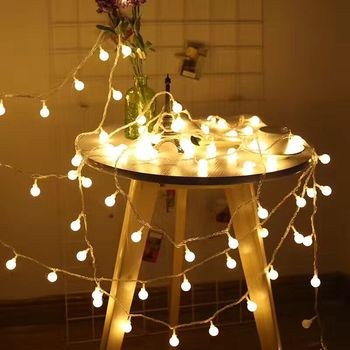 Battery Power LED Ball Garland Lights Fairy String Waterproof Outdoor Lamp Christmas Holiday Wedding Party Lights Decoration usb battery led snowflake garland lights fairy string waterproof outdoor lamp christmas holiday wedding party lights decoration