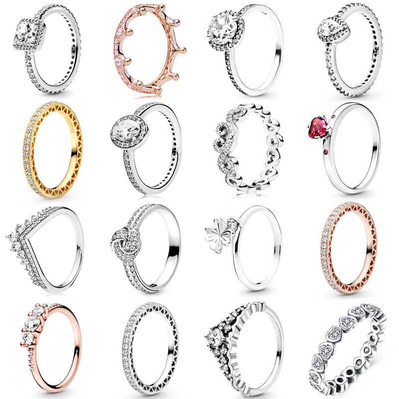 Octbyna ขายร้อนมงกุฎแหวนสำหรับสตรีสาว Sparkling Zircon แหวนแบรนด์เครื่องประดับหมั้นของขวัญ Dropshipping