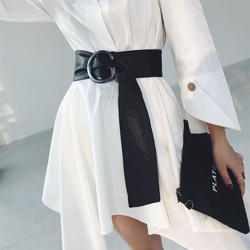 Black Pu Leather Sash Women Wide Long Waist Belt 2020 Autumn Winter Fashion Clothing Decoration Ladies Coat Shirt Belts