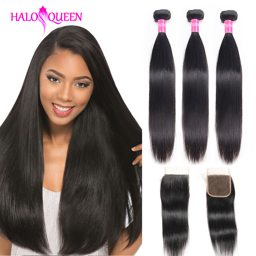 HALOQUEEN 3 Bundles With Closure Weave With Closure Peruvian Straight Bundles With Closure 100% Human Hair Bundles With Closure