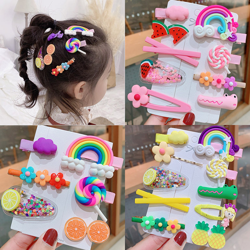 1 Set Kawaii Cartoon Fruit Flower Princess Hairpins Children Girls Kids Hair Clips Pin Accessories Barrettes Hairclip Headdress