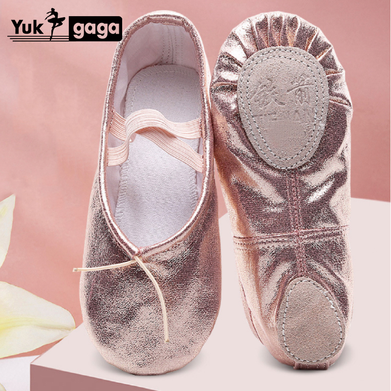 Yoga Gym Flat Slippers Gold Pu Ballet Dance Shoes For Girls Children Women Teacher