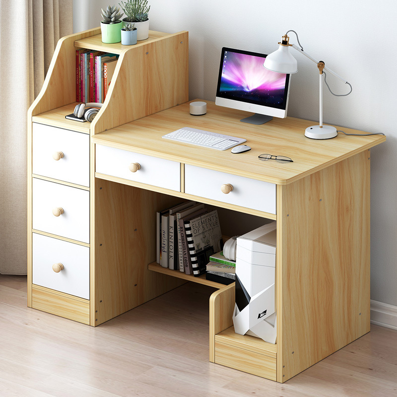 Desktop Computer Desk Modern Minimalist Home Library Bookshelf Combination Students Writing Desk Bedroom Small Table