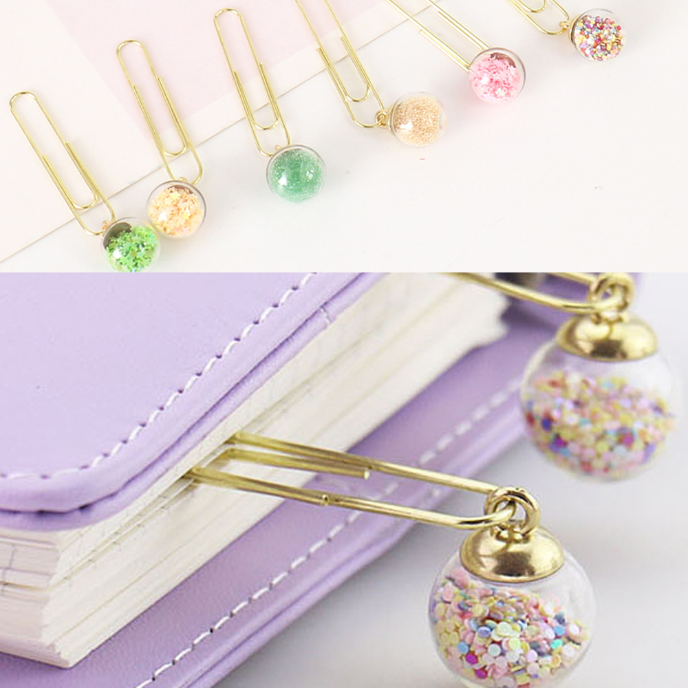 5 Pcs/Set Creative Paper Clip Multicolor Bookmark Folder Crystal Ball Binder Clips Desk Organizer Stationery Office Supplies