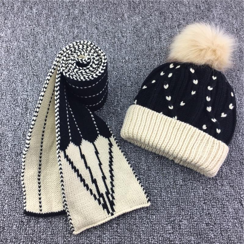 Cute Fleece Inside Beanie Scarf Set Kids Knitted Reversible Scarf Hat 2pcs