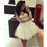 White Short Homecoming Dresses Ball Gown Long Sleeves Tulle Party Dress Appliques Lace Mini Elegant Cocktail Dresses 2020