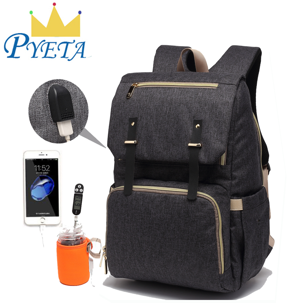 Baby Diaper Bag Baby Backpack With USB Port Baby Stroller Organizer For Mom Daddy Nappy Bag Maternity Bags With Bottle Warmer