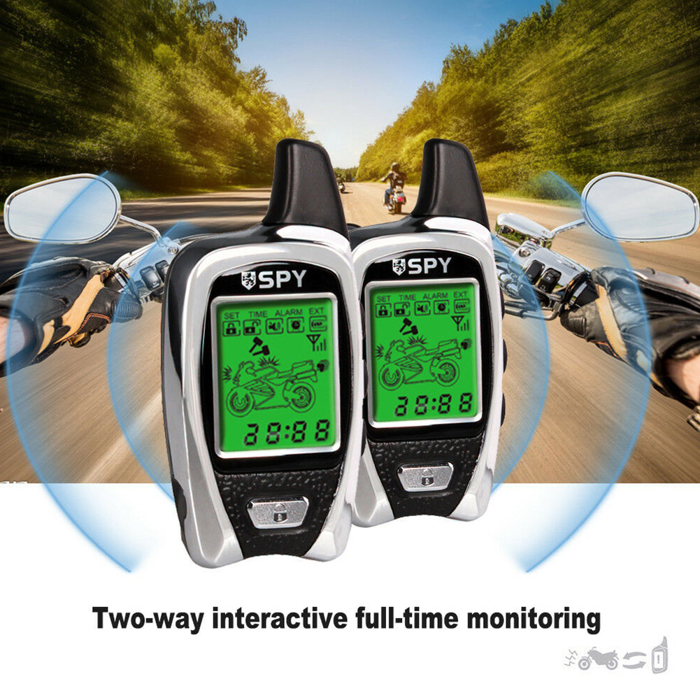 SPY Two Way Anti-theft Security LCD Display Remote Start ABS Burglar 5000M Universal Sound Motorcycle Alarm Set Motorbike