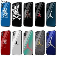 Glass Phone Case Cover For iPhone 5 5s SE 6 6s 7 8 Plus X XS XR Max Protect Jordan Air Jump Man Shell(China)