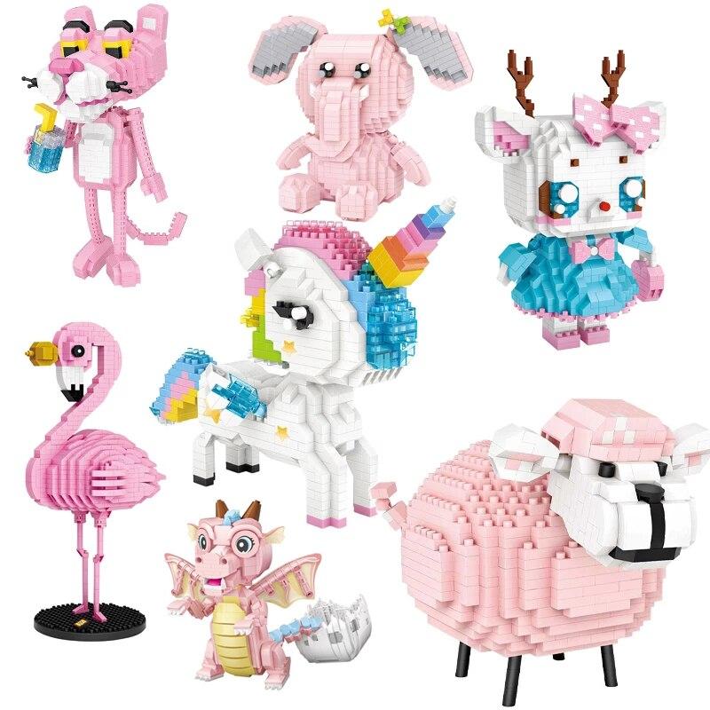 Алмазный Мини-блок «сделай сам», 3D динозавр, строительные блоки, розовые фигурки, милые животные, медведь, овца, единорог, модель, мини-кирпич...