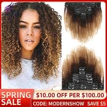 Moderno brasileño Afro rizado Clip en la extensión del pelo 1b/4/27 Color degradado 8 unids/set 120g Remy extensión del cabello humano