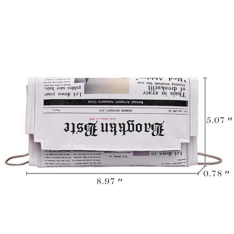 Jodimitty bolsa de envelope feminina, estampa de jornal, casual, de mão, com corrente