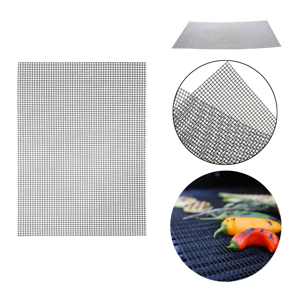 40 * 30CM BBQ Mat BBQ Grid Mat Glass Fiber Baking Mat Non-stick Heat-resistant Grill Grid Mat Pizza Barbecue Mat