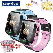 Greentiger q02 crianças relógio inteligente câmera de iluminação da tela toque chamada sos lbs localização rastreamento localizador crianças bebê relógio inteligente