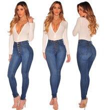 Fashion Button Jeans Women European High Waist Pants Elastic jeans Slim Trousers Female