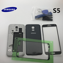 Original Full Housing Case Back Cover Front Screen Glass Lens+Middle Frame For Samsung Galaxy S5 G900 G900F I9600  Parts