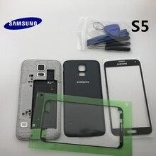 원래 전체 주택 케이스 뒤 표지 삼성 전자 갤럭시 S5 G900 G900F I9600 부품에 대 한 전면 스크린 유리 렌즈 + 중간 프레임