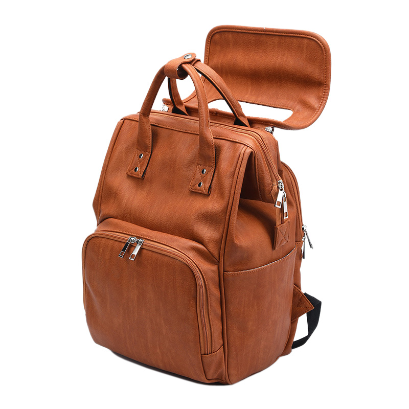 New Unisex Fashion Quality PU Leather Baby Diapers Bag Backpacks Maternity Changing Pad Stroller Straps Baby New Unisex Fashion Quality PU Leather Baby Diapers Bag Backpacks Maternity Changing Pad Stroller Straps Baby Bags Water Proof