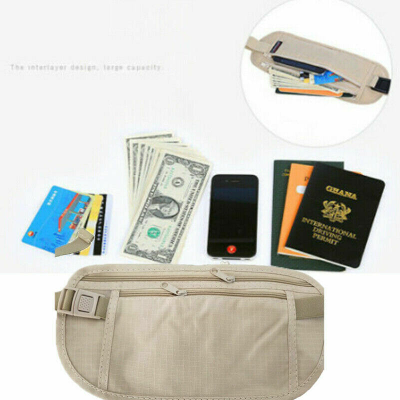 RFID Holder Travel Waist Hidden Security Money Belt Passport Card Ticket Bag Travel Passport Waist Pouch Hidden Security Wallet