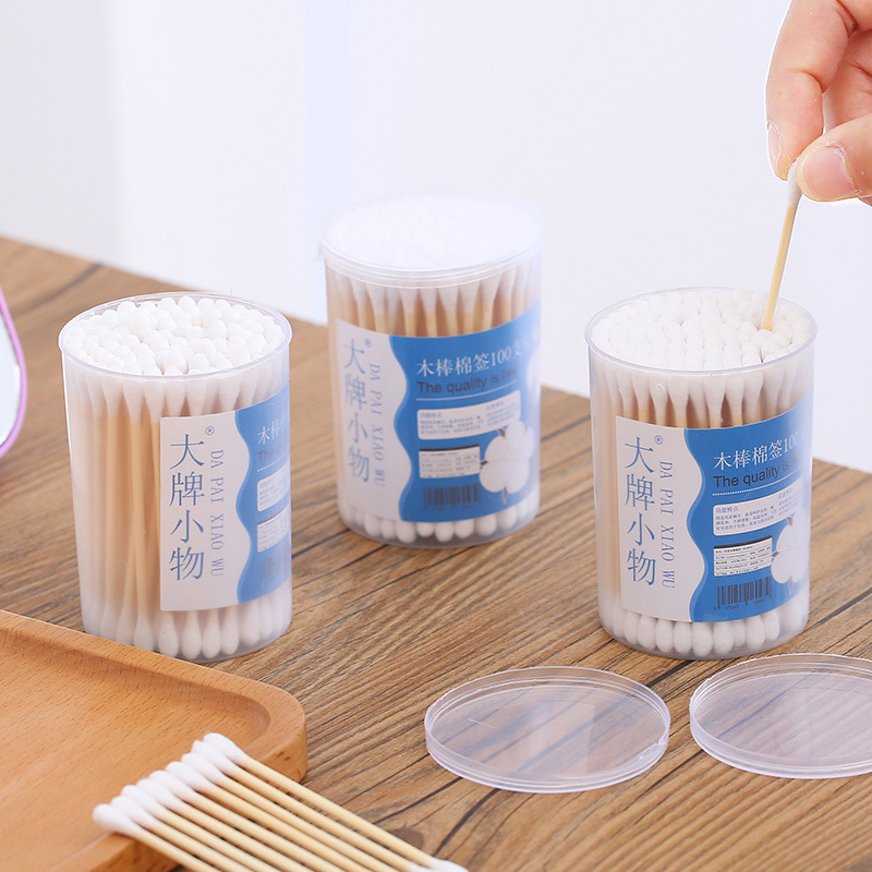 Boxed Cotton Swab 100 PCs Disposable Double Headed Cleaning Ears Sterile Stick Cotton Swab Manufacturers Direct Selling 4313