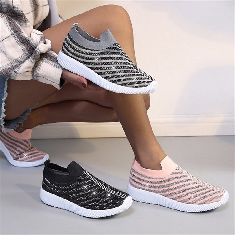 JIANBUDAN Breathable Sneakers Summer Women's Outdoor Running Shoes Bling Mesh Flat Casual Socks Shoes Comfortable Women's Shoes