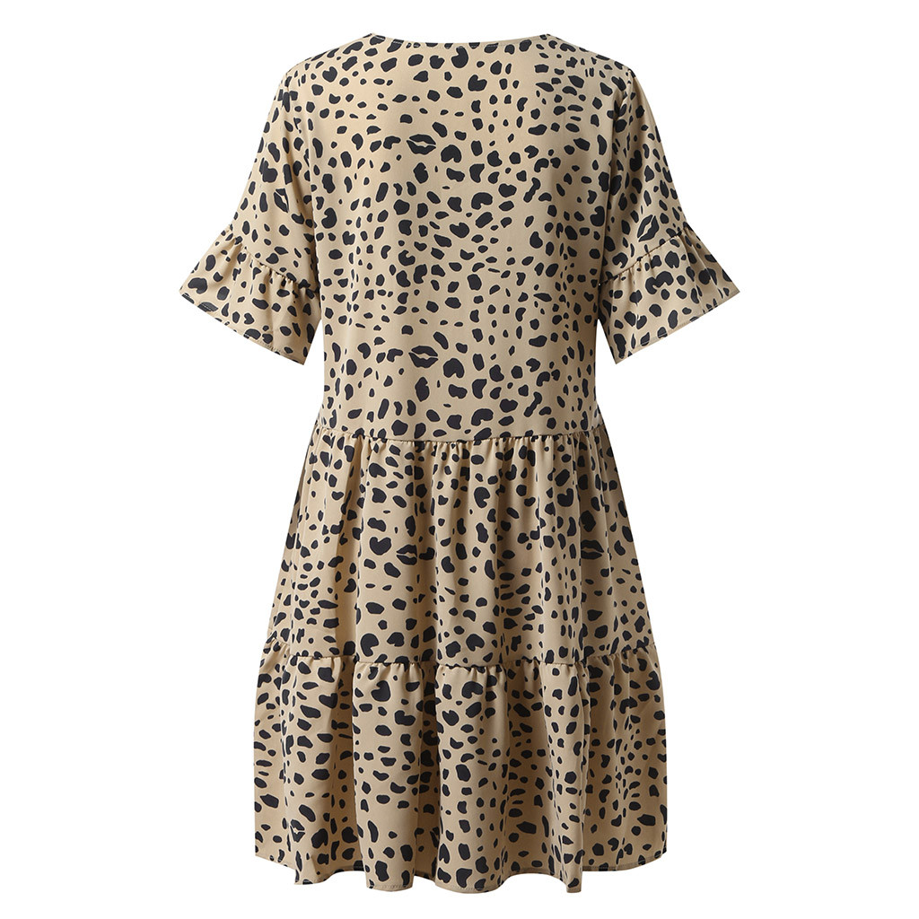 Women's Sexy Dress Summer Casual V Neck Short Sleeve Printed Party Dresses Swing Dress Plus Size Dresses Polka Dot Dress*