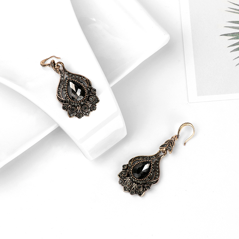 Kinel 2019 New Luxury Gray Crystal Bridal Earrings For Women Antique Gold Color Beach Party Drop Earrings Vintage Jewelry