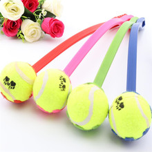 KITHOME PET 1pcs Dog Throw Tennis Ball Toy With Handle Pet Puppy Interactive Playing Toys Pets Supply- Color Random