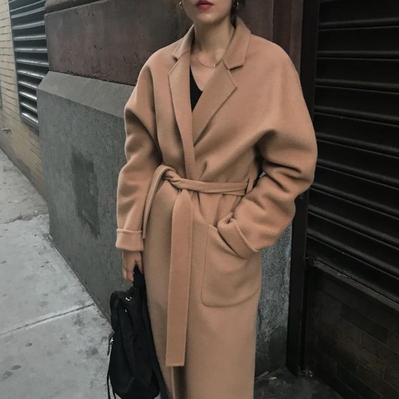Winter Autumn Women Woolen Coat With Belt Long Sleeve Turn Down Collar Streetwear Overcoat Plus Size Manteau Femme Abrigos Mujer