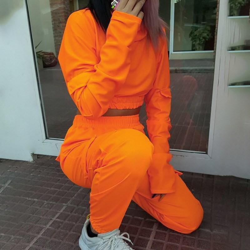 Women Pockets Crop Top Harem Pants Two Piece Set Short Autumn Orange High Waist Tracksuits Cotton Loose Outfits
